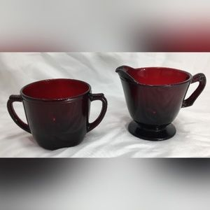 Ruby Red Cranberry Glass Creamer and Sugar